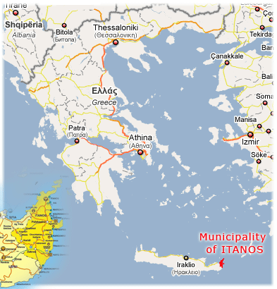Map of Greece--Itanos municipality